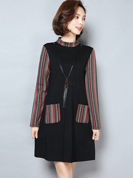 Ericdress Stand Collar Double-Layer Patchwork Casual Dress