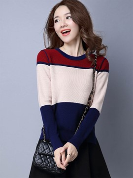 Ericdress Color Block Pullover Casual Knitwear