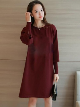 Ericdress Double-Layer Loose Solid Color Casual Dress