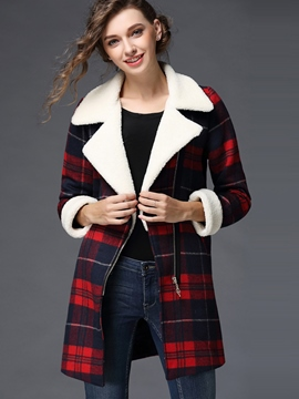 Ericdress Straight Turn-Down Plaid Coat