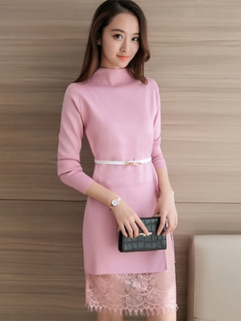 Ericdress Turtleneck Lace Patchwork Belt Sheath Dress