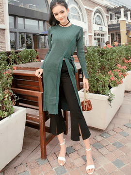 Ericdress Asymmetric Scoop Sweater Lace-Up Pants Suit