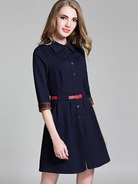 Ericdress European Button Belt Lapel Casual Dress