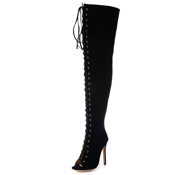 ericdress suede lace up peep toe thigh high boots 12579422