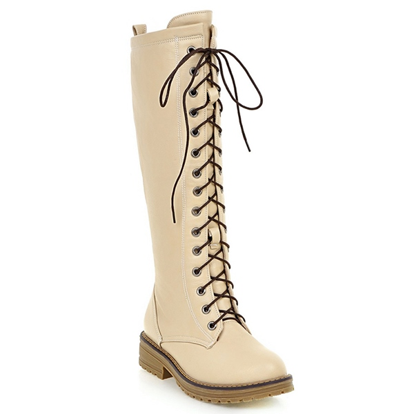 ericdress toe lace up front knee high boots 12489617