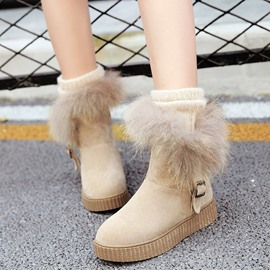 Ericdress Delicate Furry Buckles Snow Boots