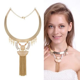 Ericdress Natural Stone Inlaid Alloy Tassels Necklace