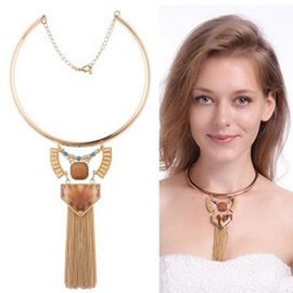 Ericdress Natural Leopard Stone Inlaid Tassel Necklace