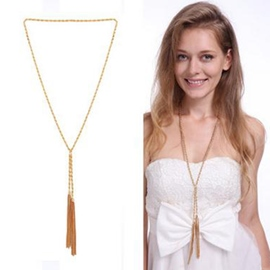 Ericdress Simple Golden Tassels Long Necklace