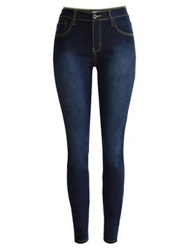 Ericdress Patchwork High-Waist Skinny Washable Jeans