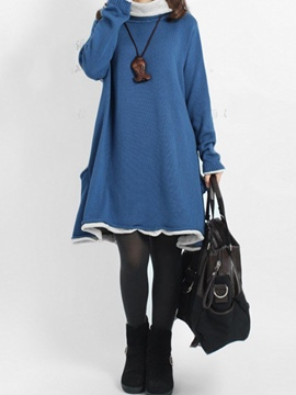 Ericdress Turtleneck Pocket Patchwork Loose Casual Dress