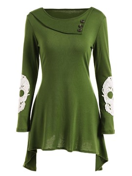 Ericdress Green Pleated Skull Pattern T-Shirt