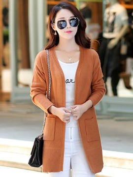 Ericdress Solid Color Cardigan Womens Knitwear