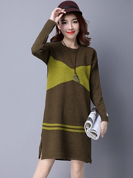 Ericdress Knitting Color Block Straight Sweater Dress