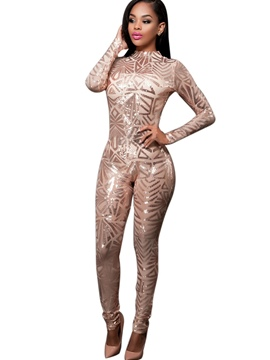 Ericdress Solid Color Mesh See-Through Skinny Jumpsuits Pants