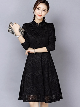 Ericdress Tassel Patchwork Houndstooth Stand Collar Lace Dress