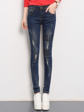 Ericdress Worn Letter Print Skinny Jeans