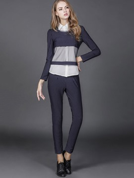 Ericdress Stripe Long Sleeve Pencil Pants Suit