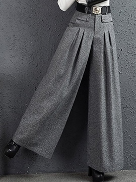 Ericdress Solid Color Pleated Thick Wide Legs Pants