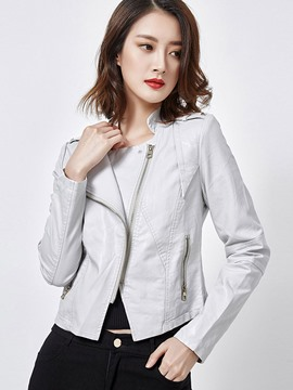 Ericdress Solid Color Slim Stand Collar Asymmetric Jacket