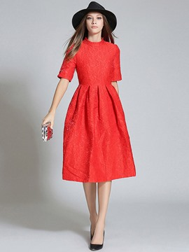 Ericdress Jacquard Pleated Half Sleeve Patchwork Casual Dress