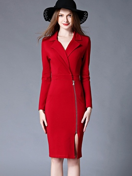 Ericdress Notched Lapel Zipper Split Slim Sheath Dress