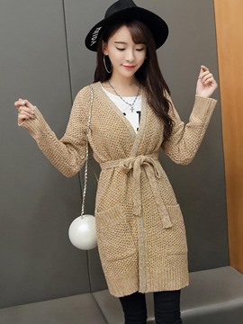 Ericdress Camel Belt Cardigan Knitwear