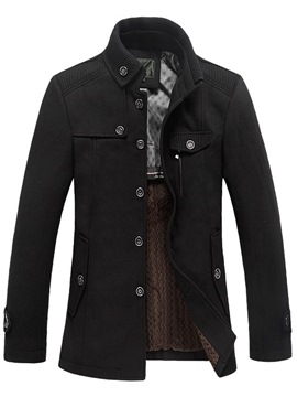 Ericdress Single-Breasted Button Down Collar Thicken Warm Men's Woolen Coat