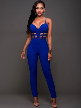 Ericdress Hollow Backless Suspenders Skinny Jumpsuits Pants