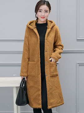 Ericdress Straight Single-Breasted Solid Color Coat