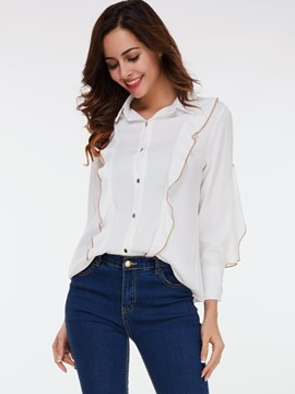 Ericdress Single-Breasted Falbala Trim Blouse