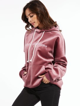 Ericdress Loose Letters Lace-Up Printed Casual Hoodie