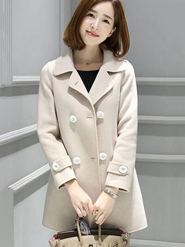 Ericdress Straight Double-Breasted Loose Coat