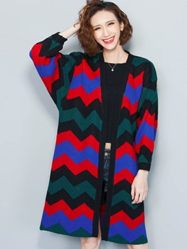 Ericdress Wave Pattern Cardigan Womens Knitwear