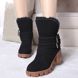 Ericdress Charming Furry Inside Buckles Ankle Boots