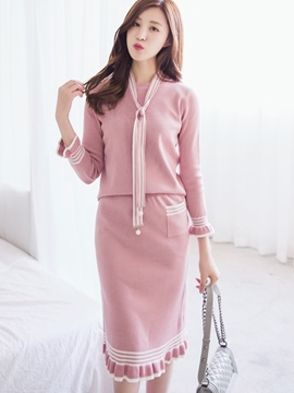 Ericdress Long Sleeve Sweater Falbala Stripe Skirt Suit