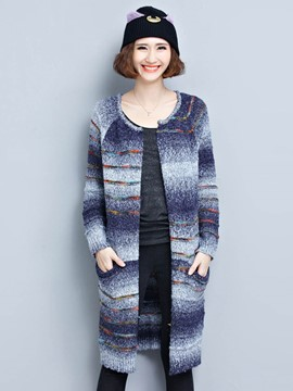 Ericdress Stripe Line Detail Cardigan Knitwear