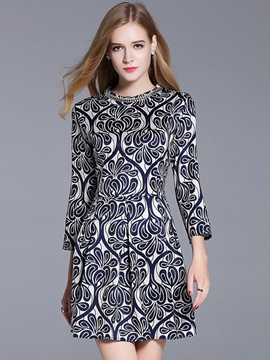 Ericdress Print Bead Patchwork Pleated Casual Dress