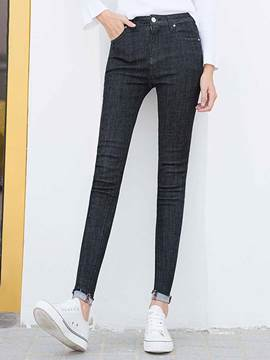 Ericdress Patchwork Zipper Washable Skinny Jeans