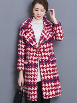Ericdress Color Block Houndstooth Plus Size Coat