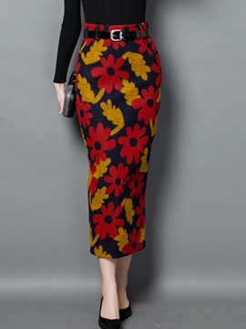 Ericdress Floral Print High-Waist Column Skirt