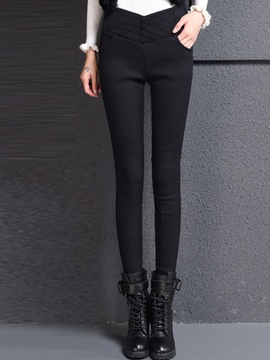 Ericdress Solid Color Pocket Fleece Leggings Pants