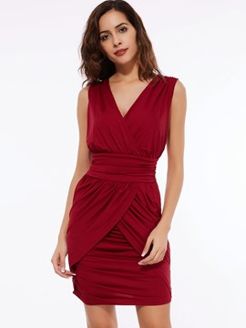 Ericdress Sleeveless Summer Pleated Sheath Dress