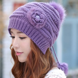 Ericdress Flower Decorated Rabbit Hair Knitted Hat