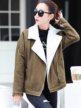 Ericdress Casual Loose Fleece Polo Coat