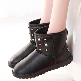 Ericdress Rhinestone Slip on Snow Boots