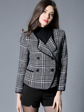 Ericdress Turn-Down Plaid Double-Breasted Coat