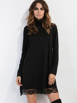 Ericdress Simple Lace Patchwork Turtleneck Casual Dress