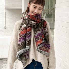 Ericdress Ethnic Style Colorful Ripple Scarf