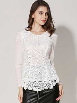 Ericdress Lace Embroidery Irregular Blouse